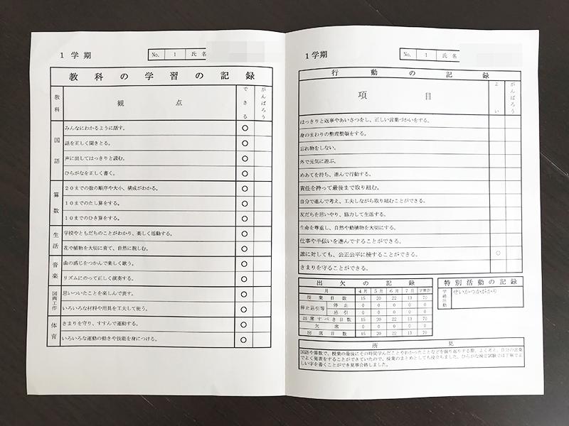 小学校一年生1学期の通知表